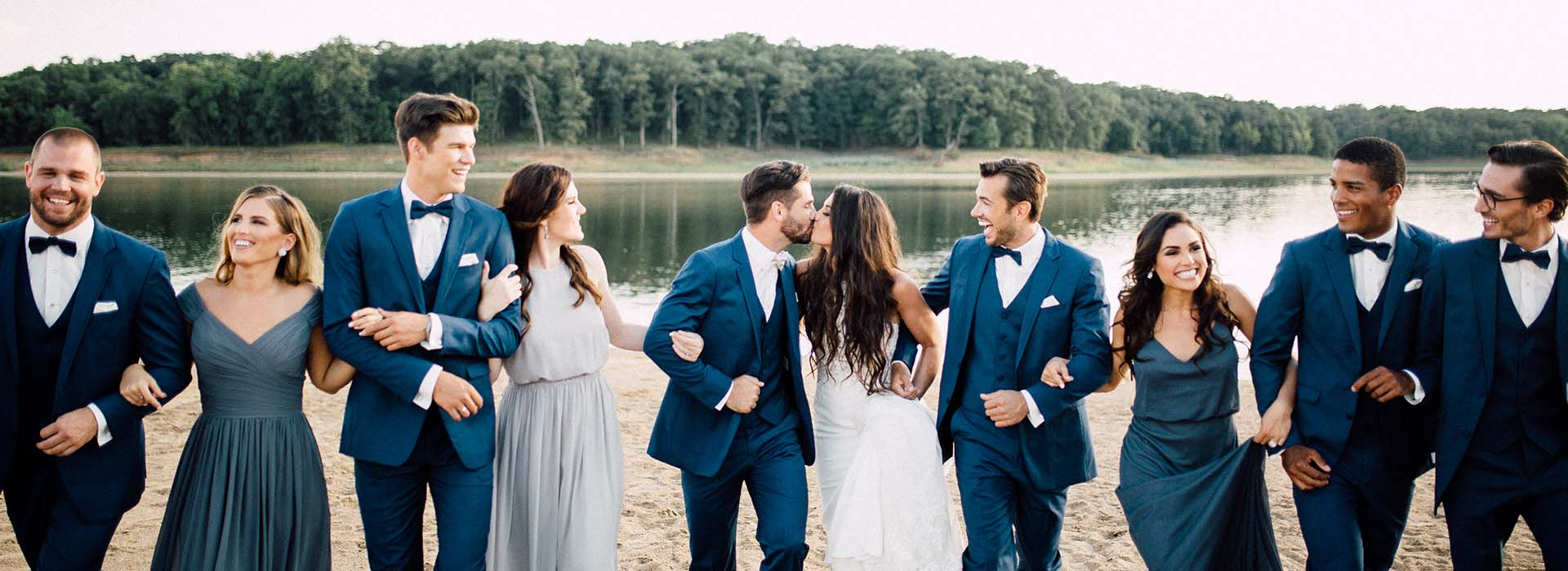 Wedding Party in Blue Tuxedos