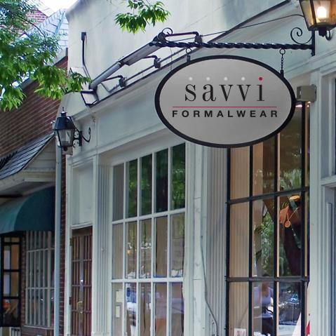 Savvi Formalwear sign outside a store